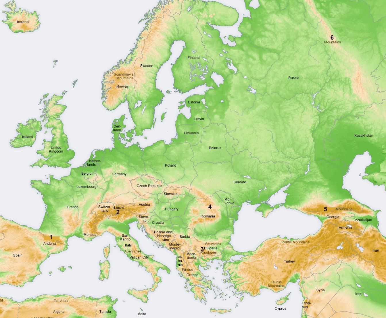 bergskedjor europa karta Europa: berg bergskedjor europa karta